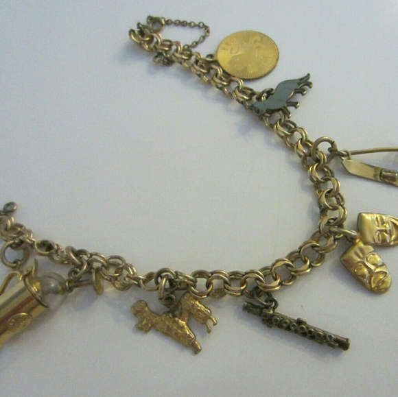 8322a6c1d gold plate, sterling Jewelry | Charm Bracelet Mid Century Modern ...